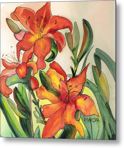 Flowers Orange Lilies Floral Green Garden Metal Print featuring the painting Summer Lilies by Marsha Woods