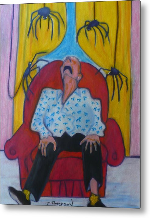 Crayon Metal Print featuring the painting Grandpa And The Spiders by Todd Peterson