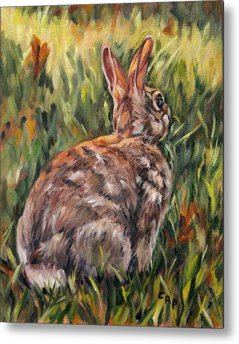 Rabbit Metal Print featuring the painting All Ears by Cheryl Pass