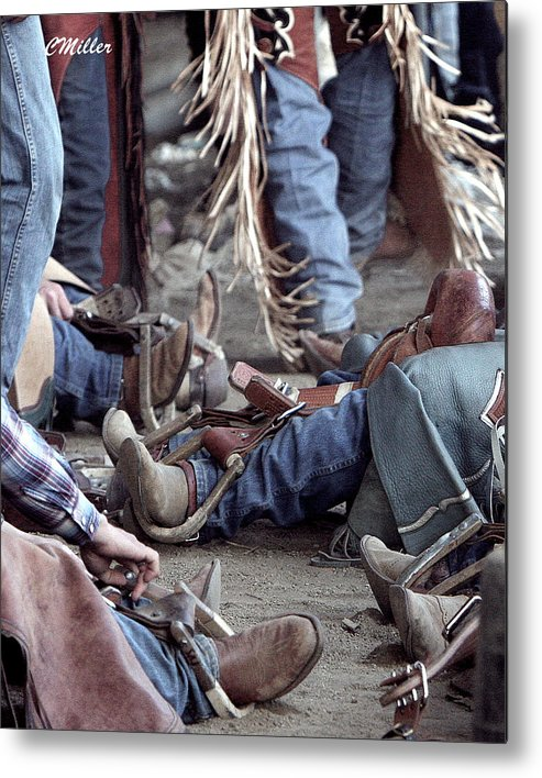 Rodeo Metal Print featuring the photograph Bronc Rider Row.. by Carol Miller