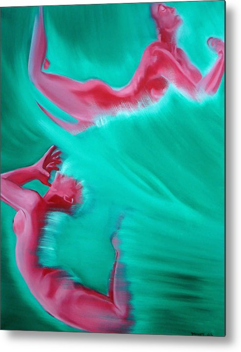 Erotic Abstract Figurative Nudes Nude Females Red Green Sea Water Metal Print featuring the painting Crashing by Davinia Hart