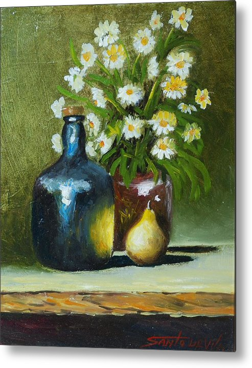 Impressionism Still Life Metal Print featuring the painting Daisies by Santo De Vita