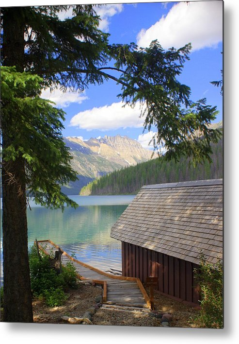 Glacier National Park Metal Print featuring the photograph Kintla Lake Ranger Station Glacier National Park by Marty Koch