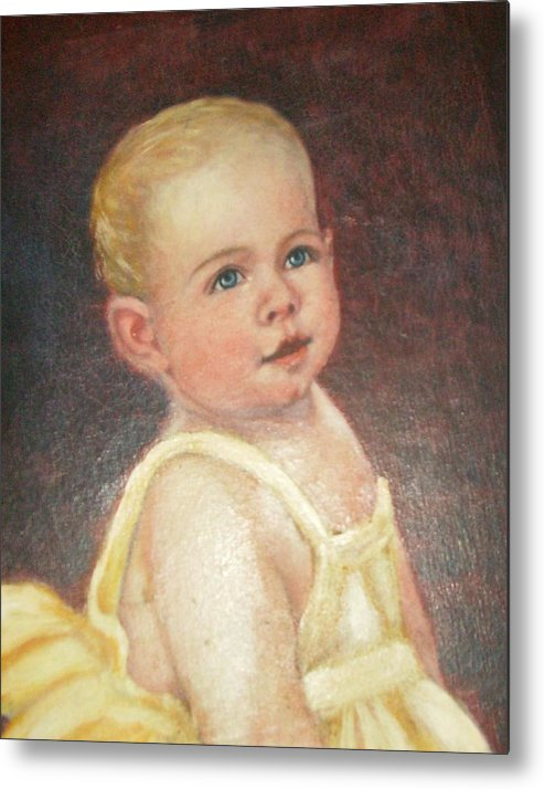 Babygirlcuteblondhair Metal Print featuring the painting Me 2 by Anne-Elizabeth Whiteway