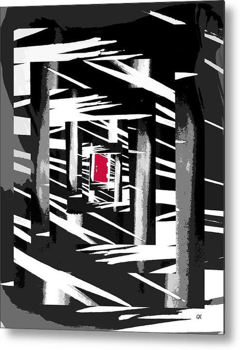 Abstract Digital Art Metal Print featuring the digital art Secret Red Door by Gerlinde Keating - Galleria GK Keating Associates Inc