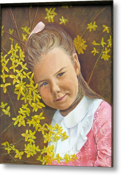 Portraits Metal Print featuring the painting Spring Peach by Donald Hofer
