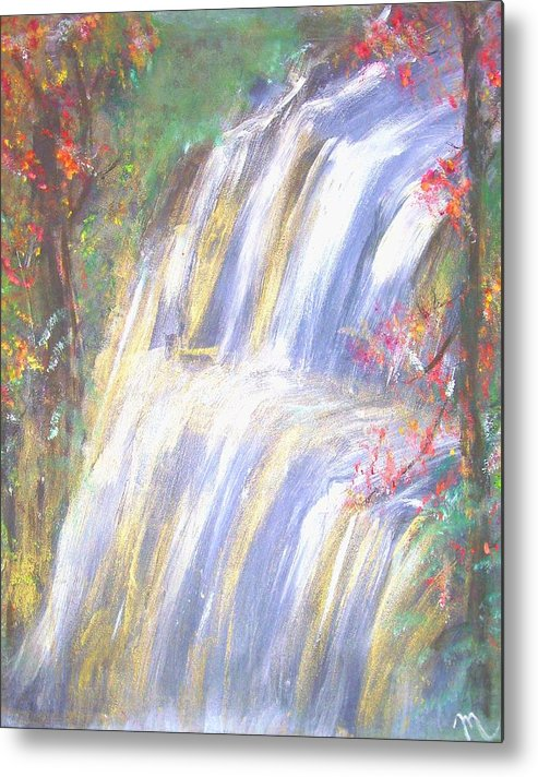 Landscape Metal Print featuring the painting Waterfall Of El Dorado by Michela Akers
