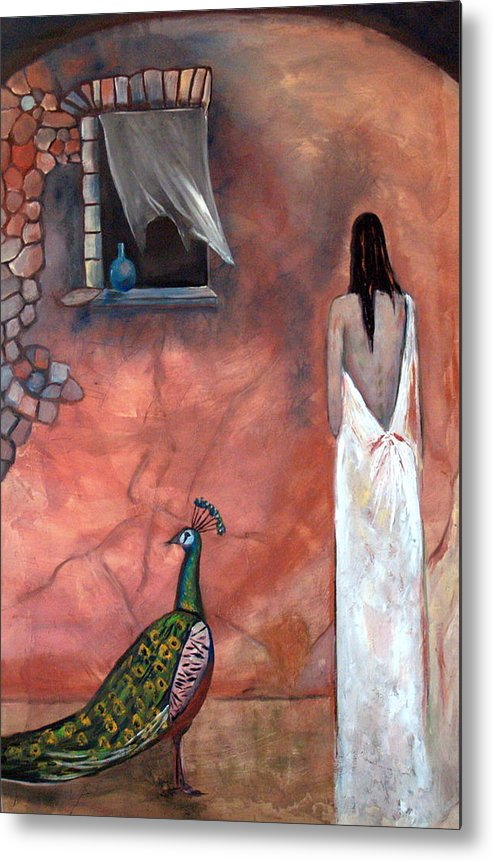 Woman Peacock Window Old Wall Red Orange Metal Print featuring the painting Abeyance by Niki Sands