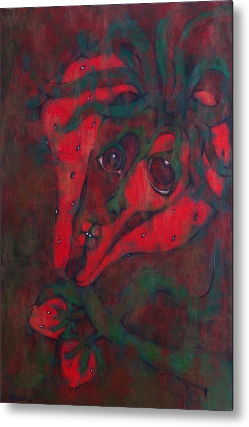 Red Metal Print featuring the painting Red Kiss by Claudia Padilla