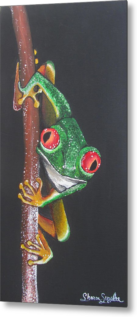 Frog Metal Print featuring the painting That Makes You The Fly by Sharon Supplee