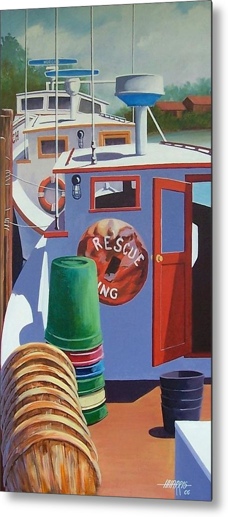 Workboats Metal Print featuring the painting Davis Creek Boats by Hugh Harris