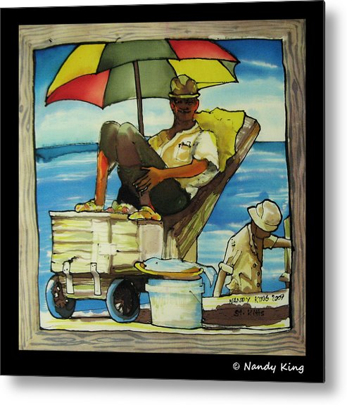 Portrait Metal Print featuring the painting Sleepy Fisherman by Nandy King