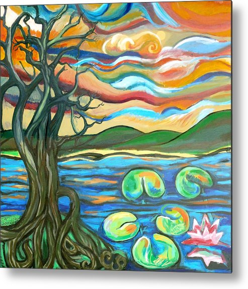 Tree Metal Print featuring the painting Tree And Lilies At Sunrise by Genevieve Esson