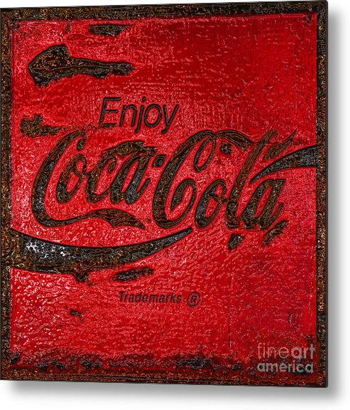 Coca Cola Metal Print featuring the photograph Coca Cola Classic Vintage Rusty Sign by John Stephens