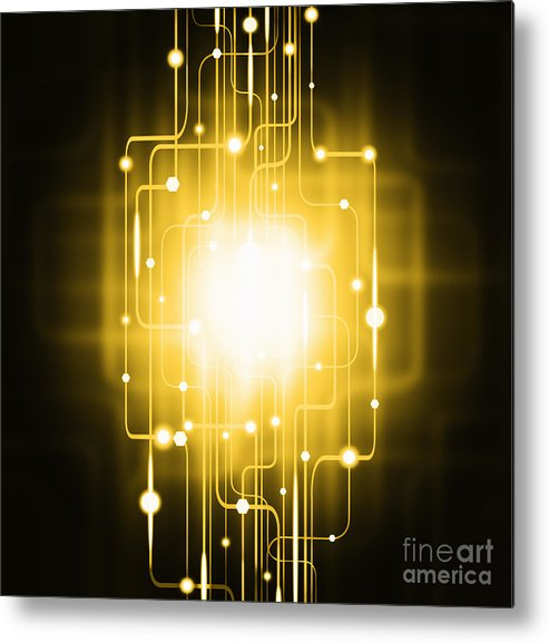 Abstract Metal Print featuring the photograph Abstract Circuit Board Lighting Effect by Setsiri Silapasuwanchai
