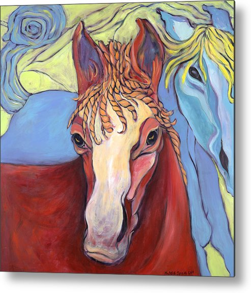 Horse Paintings Metal Print featuring the painting 2 Horses by Michelle Spiziri