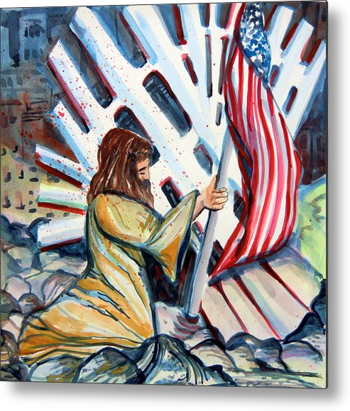 911 Metal Print featuring the painting 911 Cries For Jesus by Mindy Newman