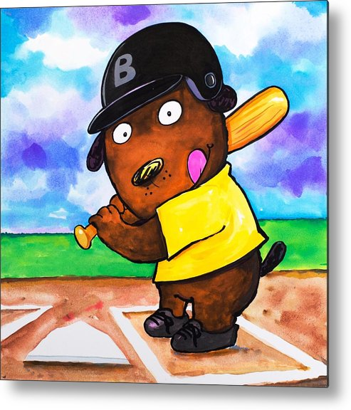 Dog Metal Print featuring the painting Baseball Dog by Scott Nelson