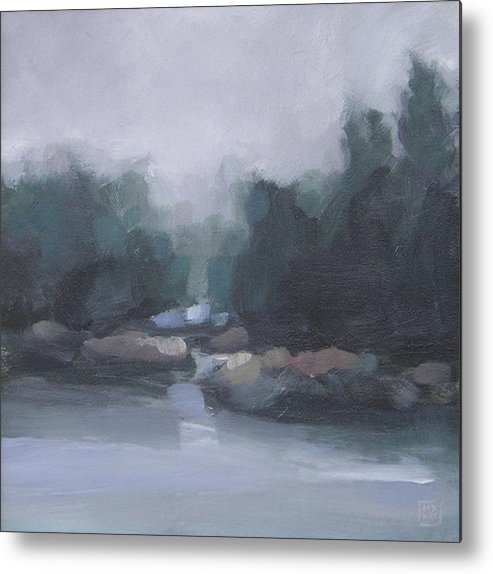 Landscape Metal Print featuring the painting Burning Off by Mary Brooking