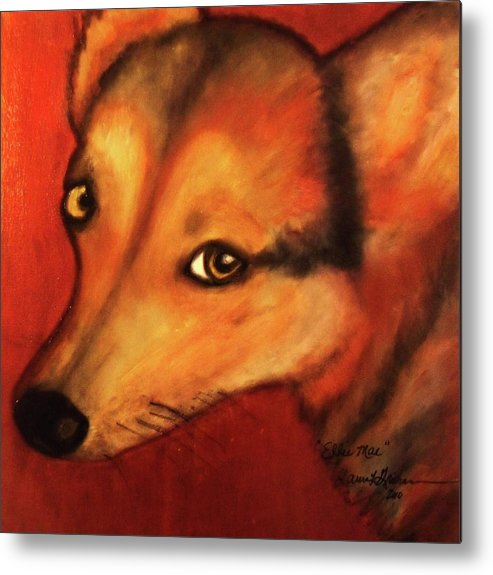Dog Art Metal Print featuring the painting Corgi- Ellie Mae by Laura Grisham