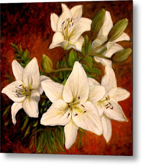 Realism Metal Print featuring the painting Day Lilies by Donelli DiMaria