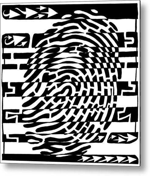Fingerprint Metal Print featuring the drawing Fingerprint Scanner Maze by Yonatan Frimer Maze Artist