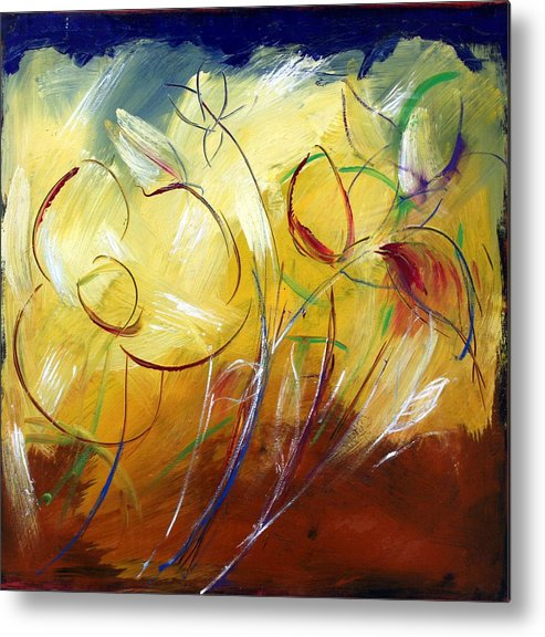 Contemporary Metal Print featuring the painting Floral Asbtract by Mario Zampedroni
