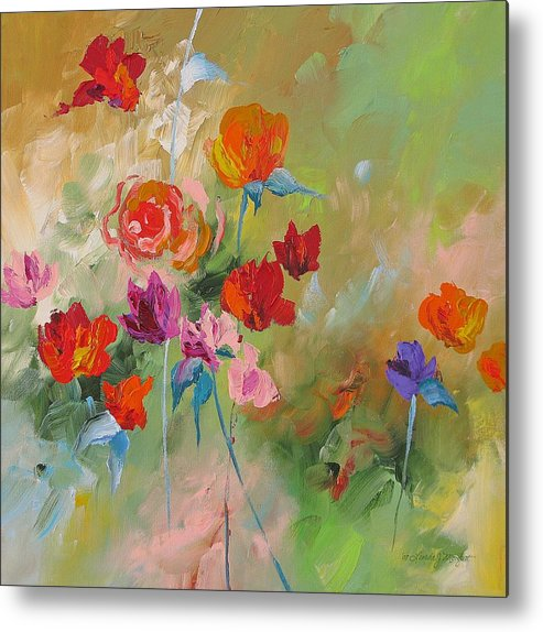 Abstract Metal Print featuring the painting Follow Your Dream by Linda Monfort