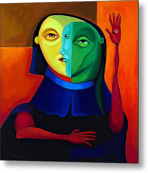 Figure Metal Print featuring the painting Four Eyes by Mike Lawrence
