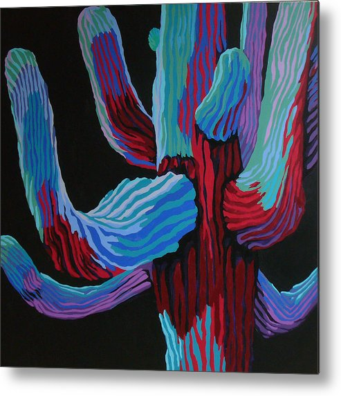 Saguaro Cactus Metal Print featuring the painting Full Moon by Sandy Tracey