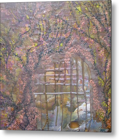 Encaustic Metal Print featuring the painting Gateway To Positive Change by Heather Hennick