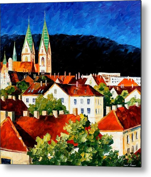 City Metal Print featuring the painting Germany - Freiburg by Leonid Afremov