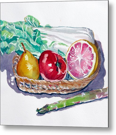 Still Life Metal Print featuring the painting Gift Basket by Jan Bennicoff