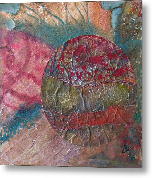 Abstract Metal Print featuring the painting Global Series 1 by John Vandebrooke