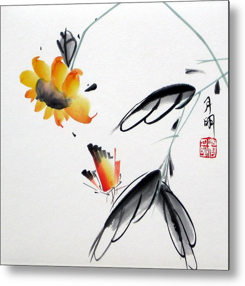 Chinese Painting Metal Print featuring the painting Golden Sunflower by Ming Yeung