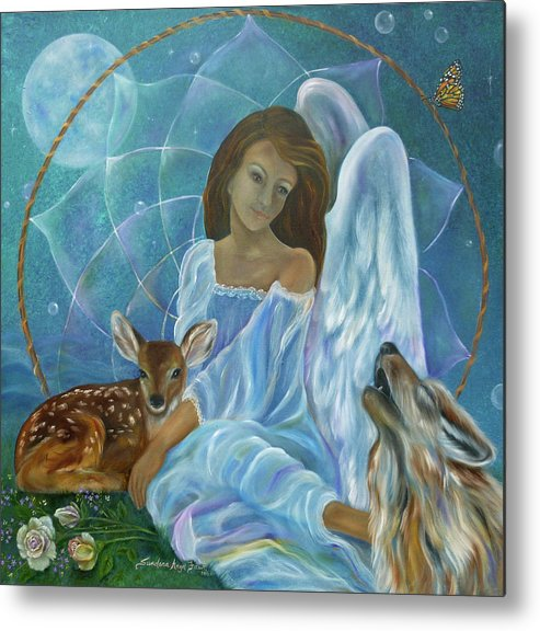 Angel Metal Print featuring the painting Guardian Of Truth by Sundara Fawn