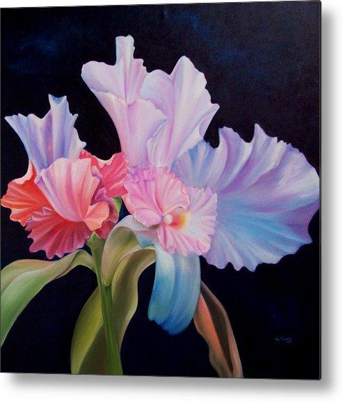 Flowers Metal Print featuring the painting Honney Orquid by Elsa Gallegos