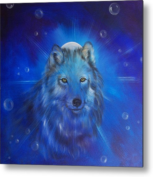 Wolf Metal Print featuring the painting Inner Voice by Sundara Fawn
