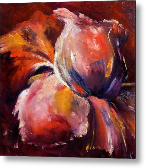 Flowers Metal Print featuring the painting iRIS by Veronique Radelet