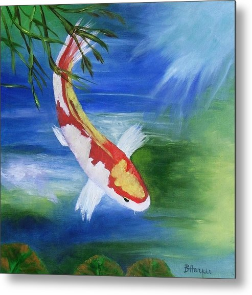 Koi Metal Print featuring the painting Kohaku Koi Fish 2 by Barbara Harper