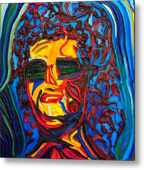 Metal Print featuring the painting Lady In Sunglasses by Ira Stark