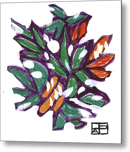 Still Life Design Metal Print featuring the painting Leaves In Snow by Helen Pisarek