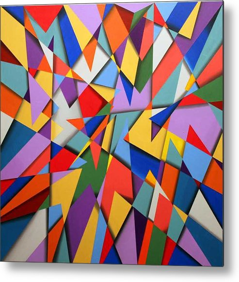 Abstract Based On The New Wing Of The Denver Art Museum Metal Print featuring the painting Libskind by Marston A Jaquis
