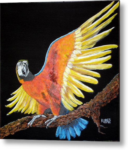 Macaw Metal Print featuring the painting Macaw - Wingin' It by Susan Kubes