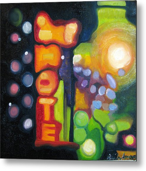 N Metal Print featuring the painting Motel Lights by Patricia Arroyo