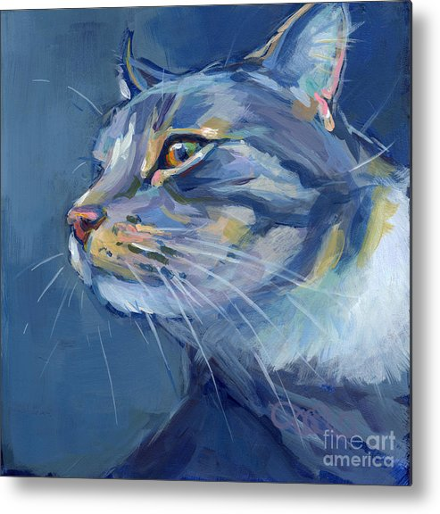 Gray Cat Metal Print featuring the painting Mr. Waffles by Kimberly Santini