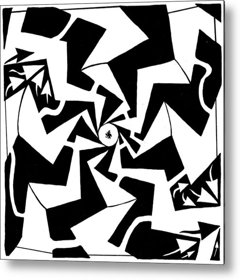 Maze Metal Print featuring the drawing Paparazzi Maze by Yonatan Frimer Maze Artist