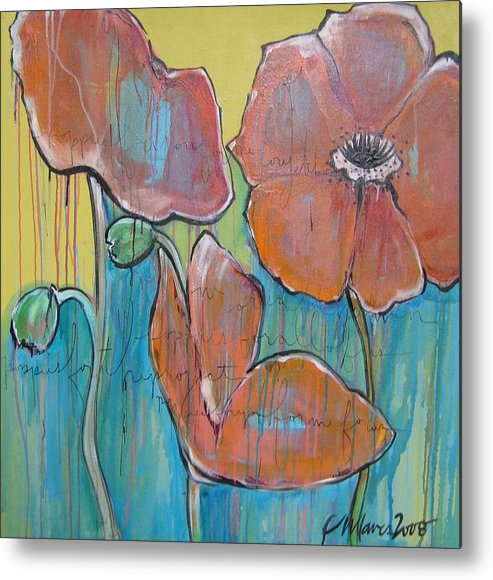 Pop Art Metal Print featuring the painting Poppies 3 by Laurie Maves ART