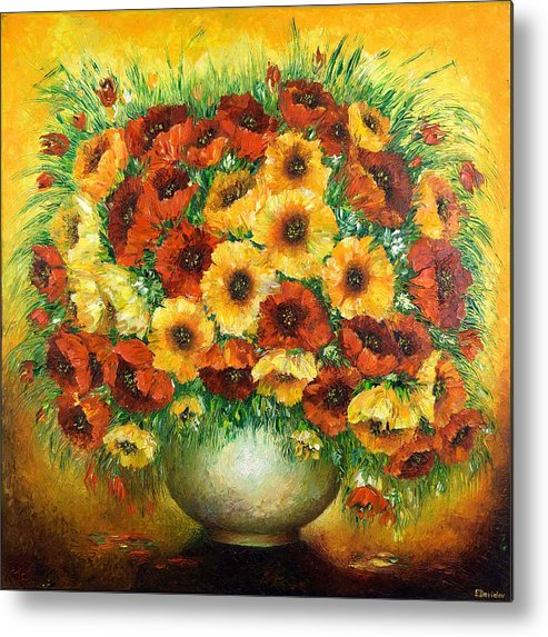 Painting Metal Print featuring the painting Poppies. by Evgenia Davidov