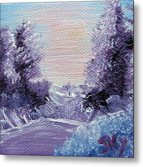 Wonderous Metal Print featuring the painting Purple Majesty Landscape by Jera Sky